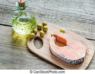 huile, nourriture, saumon, -, graisses, olive, insaturé