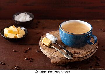 huile, paleo, pare-balles, beurre, boisson, mélangé, keto, ...