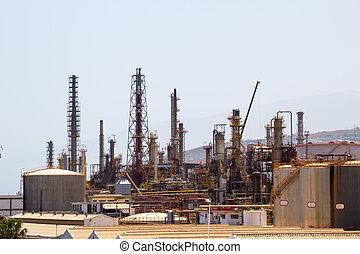 huile, plante, industriel, zone., traitement