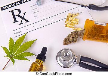 huile, prescription, monde médical, assorti, sur, pilules, feuille, cannabis, produits, cbd