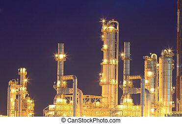 huile, propriété, phut, crépuscule, (map, raffinerie, industriel, thailand), rayong, cette