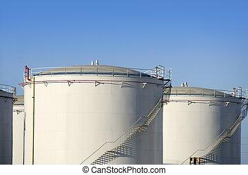 huile, récipient, essence, grand, industrie, chimique, ...