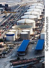 huile, réservoir, port maritime
