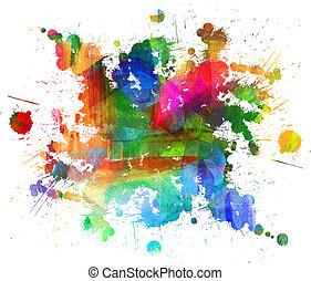 huile, résumé, brouillé, spot., blob., freehand, painting., dessin, blot.