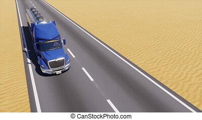 huile, résumé, camion, vide, désert, route, 3d
