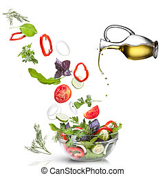 huile, salade, légumes, isolé, blanc, tomber