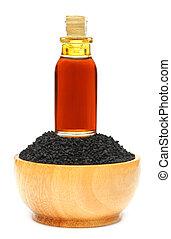 huile, sativa, nigella, cumin, ou, noir, essentiel