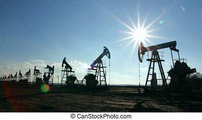 huile, silhouette, fonctionnement, soleil, contre, pompes