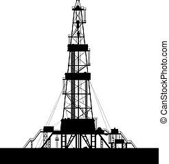 huile, silhouette, isolé, arrière-plan., derrick, blanc