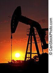 huile, silhouetted, soleil, pompe, monture, cric, derrick