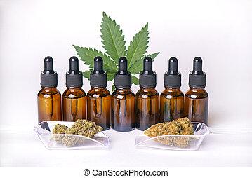 huile, sur, ou, derived, teinture, cannabis, bouteilles, isolé, cbd, blanc, plante, marijuana