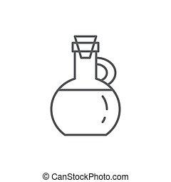 huile, symbole, editable, isolé, arrière-plan., bouteille, légume, blanc