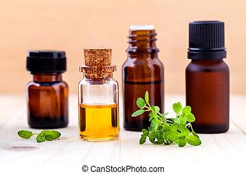 huile, thym, bouteille, citron, bois, essentiel, feuille, arrière-plan.
