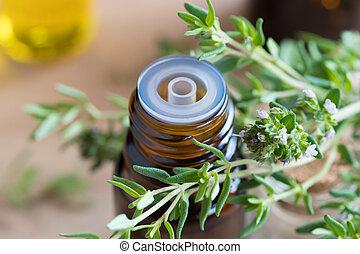huile, thym, feuilles, bouteille, frais, essentiel