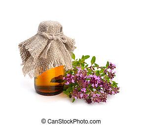 huile, thym, floraison, pharmaceutique, bottle., essentiel