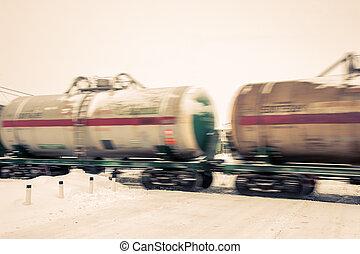 huile, train, réservoirs, moving.
