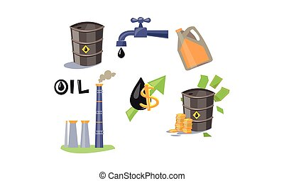 huile, transport, icônes, ensemble, industrie, traitement, illustration, essence, vecteur, fond, blanc
