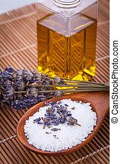 huile, wellness, lavande, arôme, thérapie, sel bain, masage