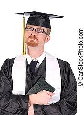 huilen, jonge, afgestudeerd, man