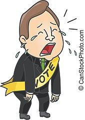 huilen, politieke kandidaat, man