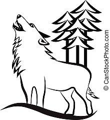 huilend, wolf, logo