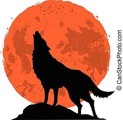 huilend, wolf, maan