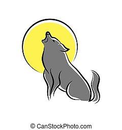huilend, wolf, symbool