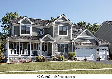 huis in de voorsteden, met, wraparound, portiek