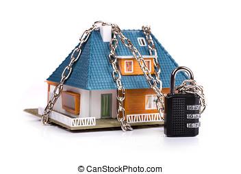 huis veiligheid, concept, -, ketting, met, hangslot, rond het huis