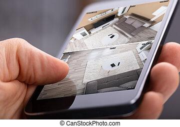 huis veiligheid, systeem, gebruik, persoon