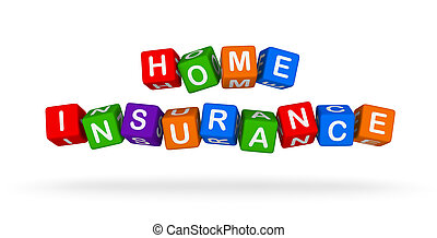 huis verzekering, kleurrijke, teken., veelkleurig, speelbal, blocks.