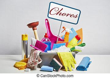 huis zuiverend, producten, stapeel op op, witte achtergrond