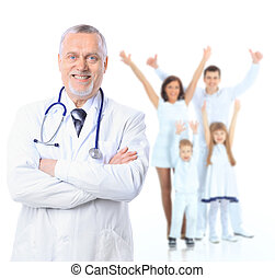 huisarts, patients., op, vrijstaand, achtergrond., gezondheid, care., witte
