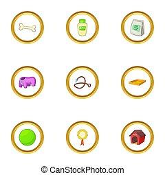 huisdierenzorg, iconen, set, spotprent, stijl