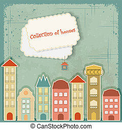 huisen, achtergrond, verzameling, ouderwetse