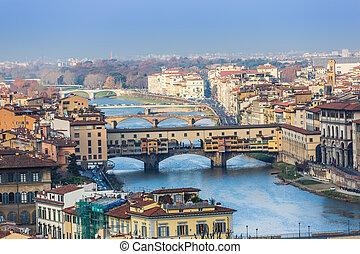 huisen, arno rivier, en, bruggen, van, florence, tuscany, italië