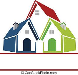 huisen, bedrijf, logo