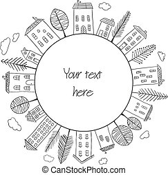 huisen, cirkel, doodles