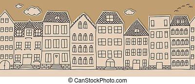 huisen, doodle, horizontaal, seamless, p