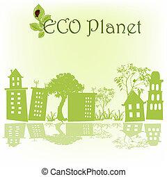 huisen, groene, schets