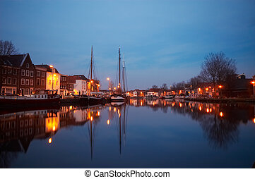 huisen, hollandse, bootjes, typisch