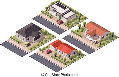 huisen, isometric, vector, set