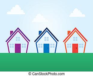huisen, kleuren, schets, abstract