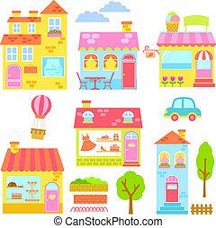 huisen, kleurrijke