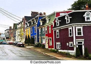 huisen, kleurrijke, newfoundland