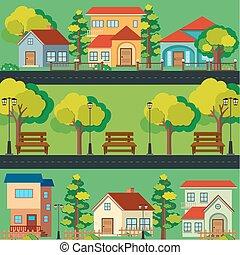 huisen, langs, scène, straat