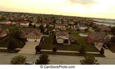 huisen, luchtopnames, vlucht, woongebied