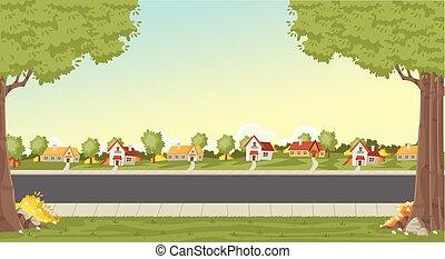 huisen, neighborhood., kleurrijke, voorstad