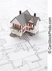 huisen, op, bouwschets