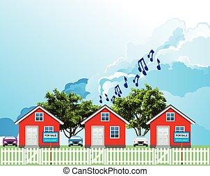 huisen, roeien, luidruchtig, woongebied, buur